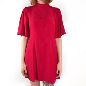 Free People Be My Baby red ruched front dress